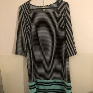 Merona Stripe long short sleeve dress (M)